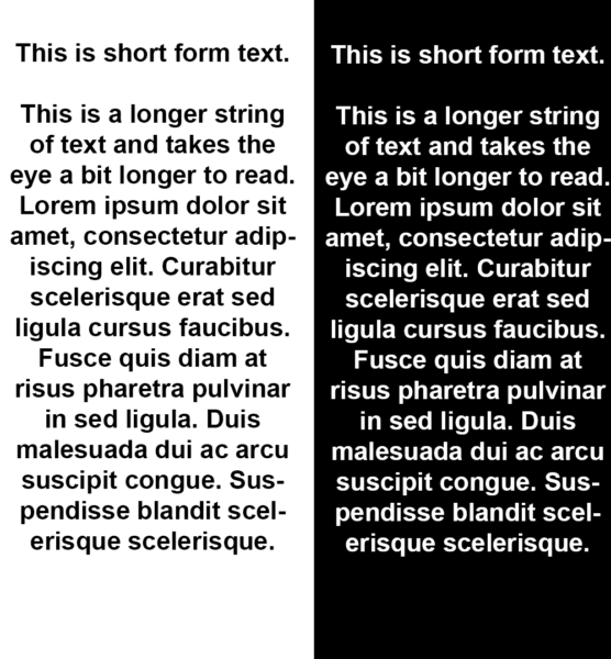 Picture of text on light vs dark background
